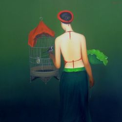 Girl with bird-cage